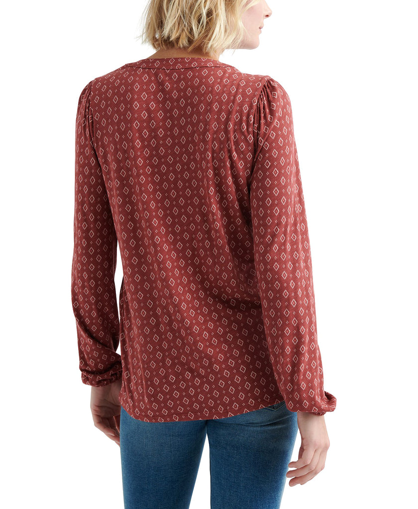 Yieldings Discount Clothing Store's Printed Long Sleeve Pullover Top w/ Tassels by Lucky Brand in Multi