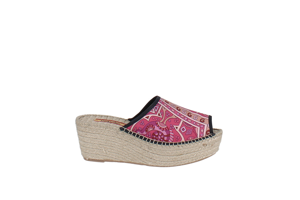 Yieldings Discount Shoes Store's Isabel Printed Wedge Heel Espadrille Sandals by Respoke in Pink