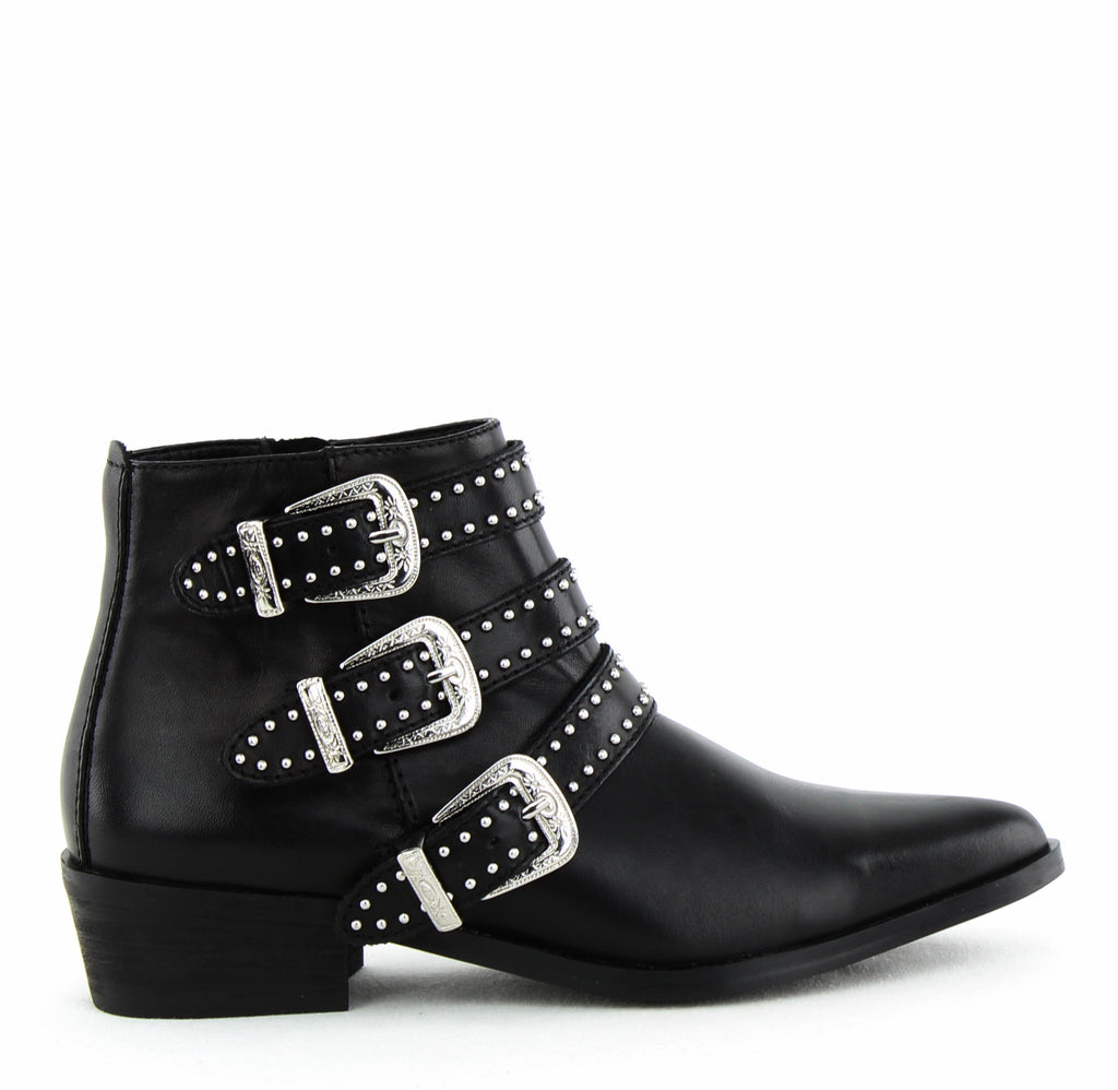 Yieldings Discount Shoes Store's Blane Studded Buckle Booties by Aqua in Black