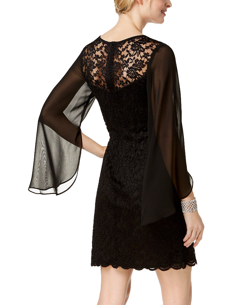 Yieldings Discount Clothing Store's Lace Chiffon Sheath Dress by Connected in Black