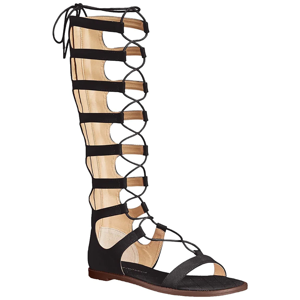 Yieldings Discount Shoes Store's Galactic Gladiator Sandals by Chinese Laundry in Black Micro Suede