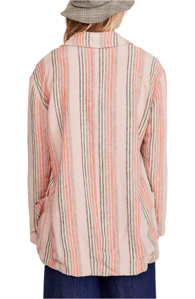 Yieldings Discount Clothing Store's Simply Stripe Blazer by Free People in Strawberry Sorbet Combo
