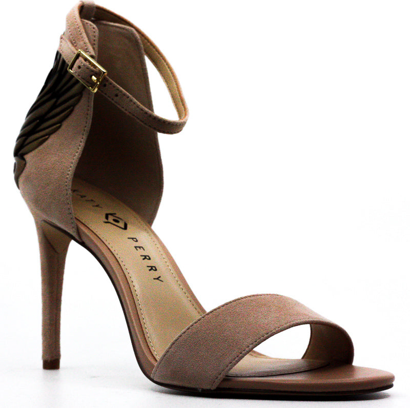 Yieldings Discount Shoes Store's The Alexann Suede Ankle Strap Pump by Katy Perry in Nude