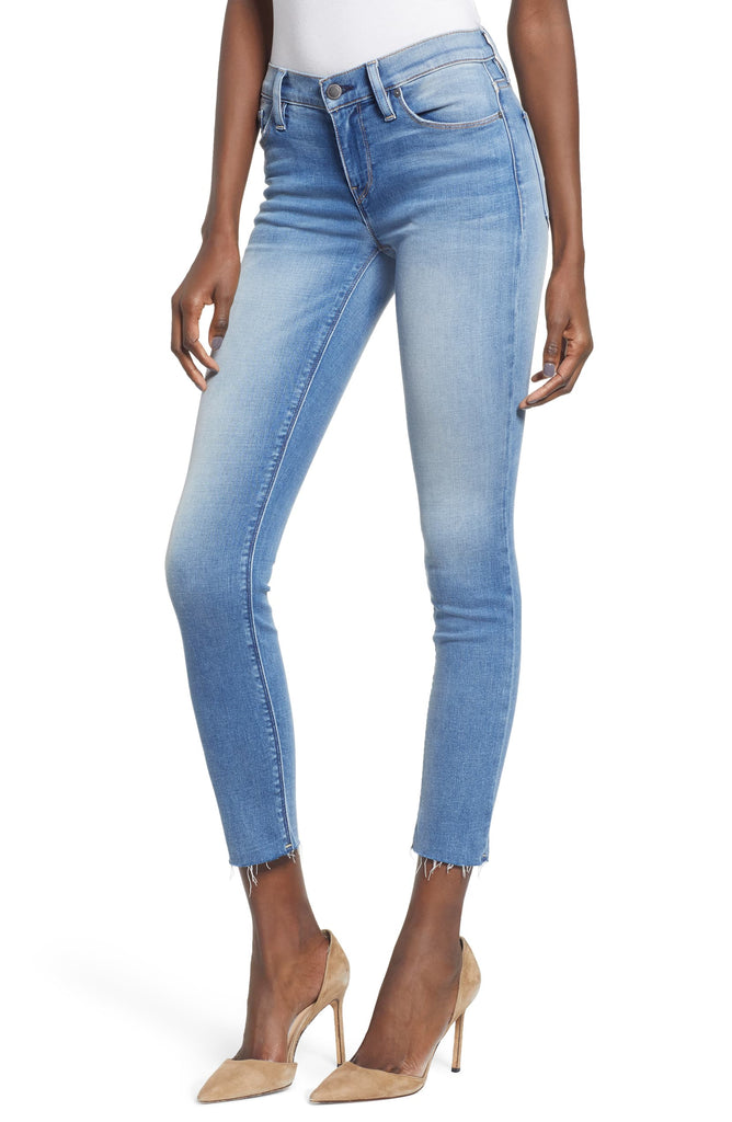 Yieldings Discount Clothing Store's Tally Crop Skinny Jeans by Hudson in Deep Aqua