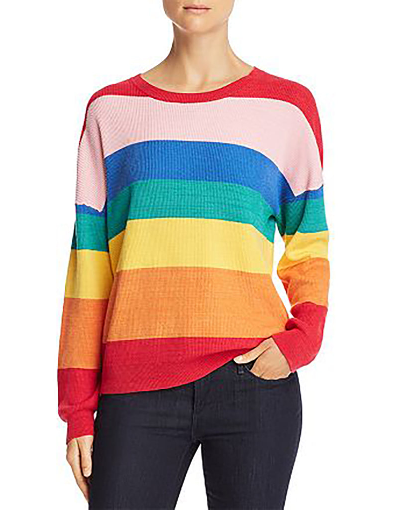 Yieldings Discount Clothing Store's Rainbow Stripe Sweater by Honey Punch in Multi