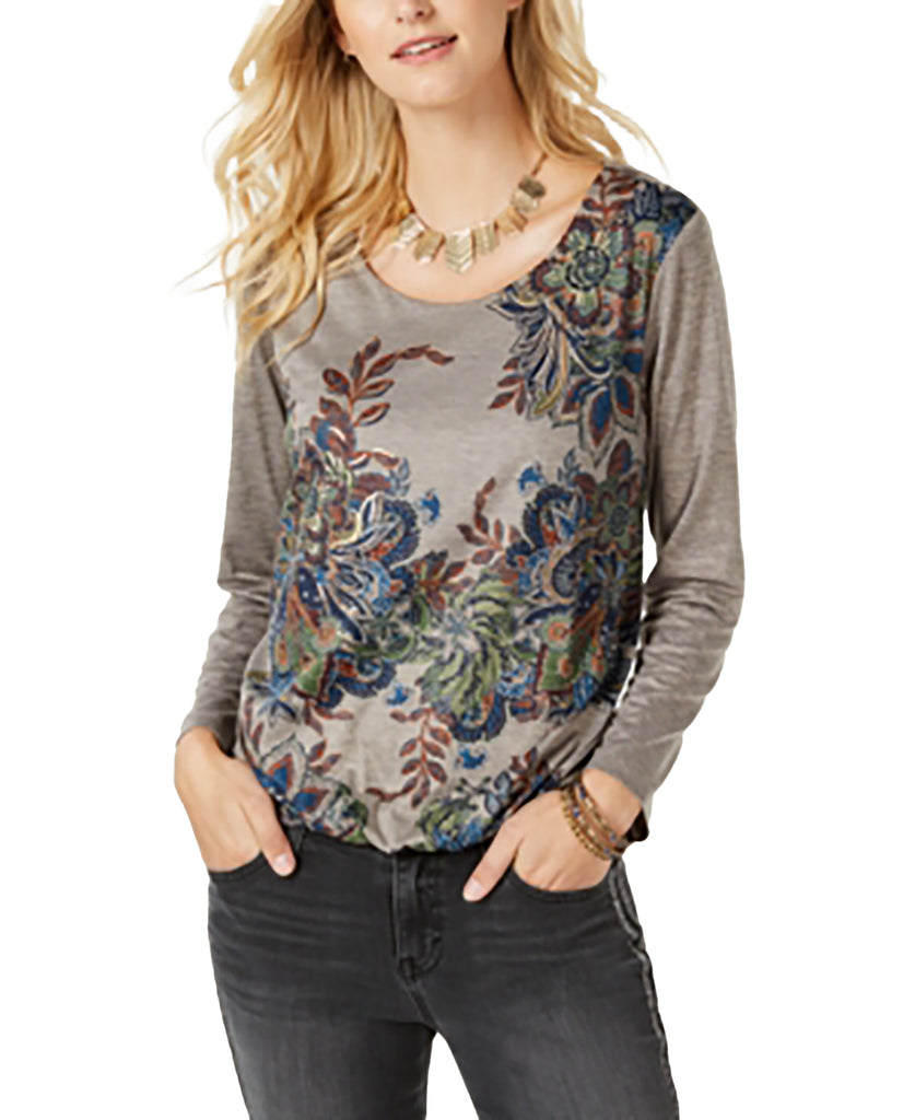 Yieldings Discount Clothing Store's Printed Bubble-Hem Top by Style & Co in Sweet Jones