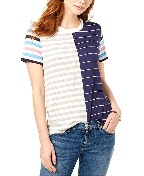 Yieldings Discount Clothing Store's Short-Sleeve Mixed-Stripe T-Shirt by Carbon Copy in Multi Navy
