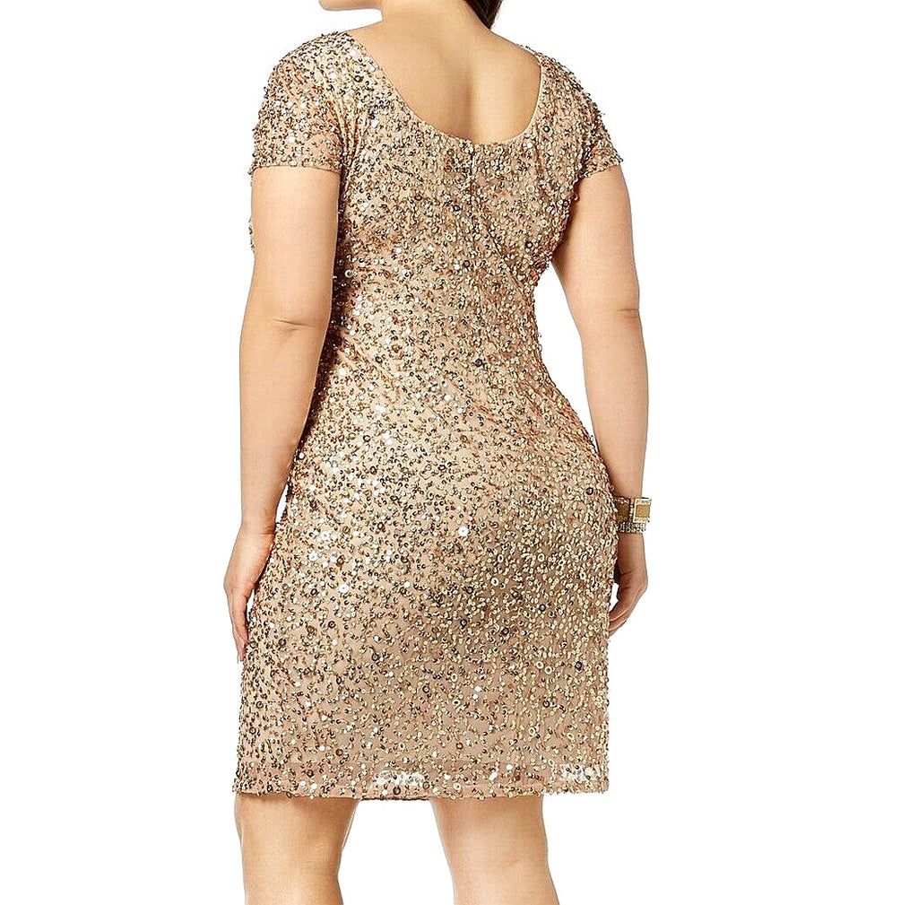 Yieldings Discount Clothing Store's Sequined Sheath Cocktail Dress by Adrianna Papell in Champagne Gold