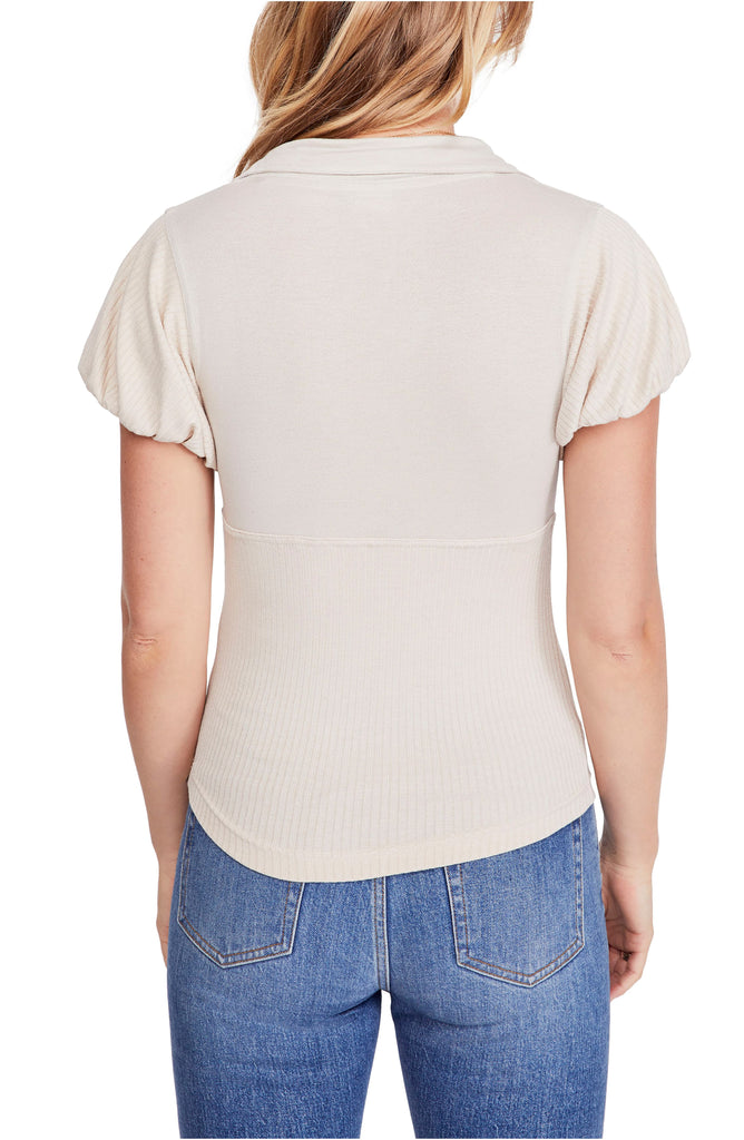 Yieldings Discount Clothing Store's Molly Collared Tee by Free People in Almond