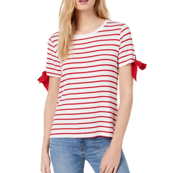 Yieldings Discount Clothing Store's Croissant Striped Tie-Sleeve T-Shirt by Maison Jules in Fire Spin