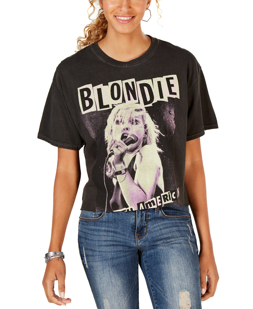 Yieldings Discount Clothing Store's Blondie Punk Tour Crop Top T-Shirt by True Vintage in Black