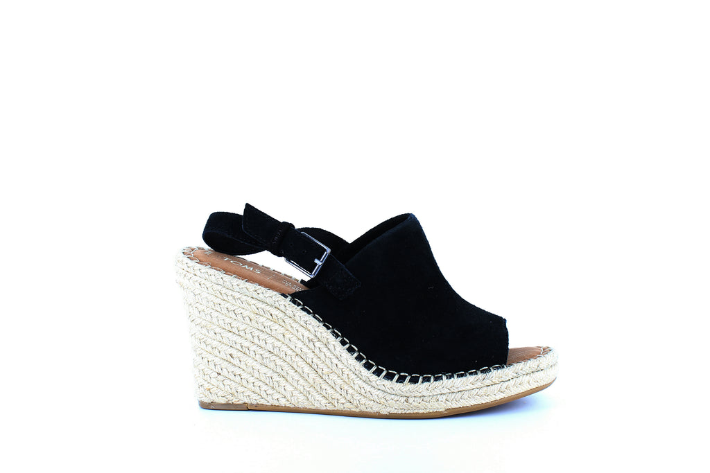 Yieldings Discount Shoes Store's Monica Espadrille Wedges by Toms in Black Suede