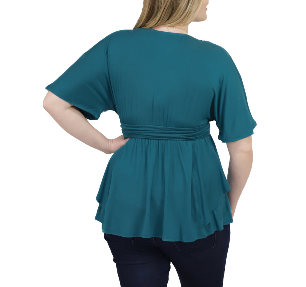 Yieldings Discount Clothing Store's Promenade Top by Kiyonna in Jade