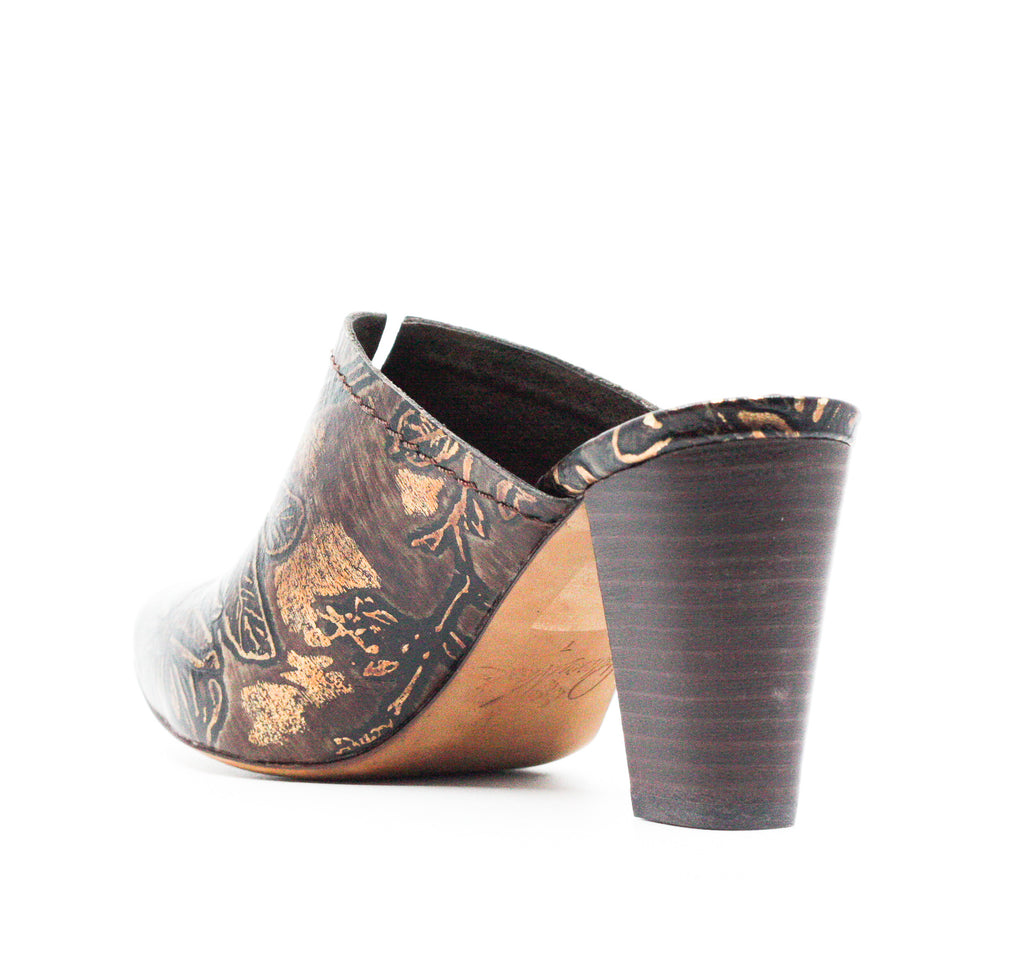 Yieldings Discount Shoes Store's Ruffina Block Heel Mules by Patricia Nash in Chocolate/Gold