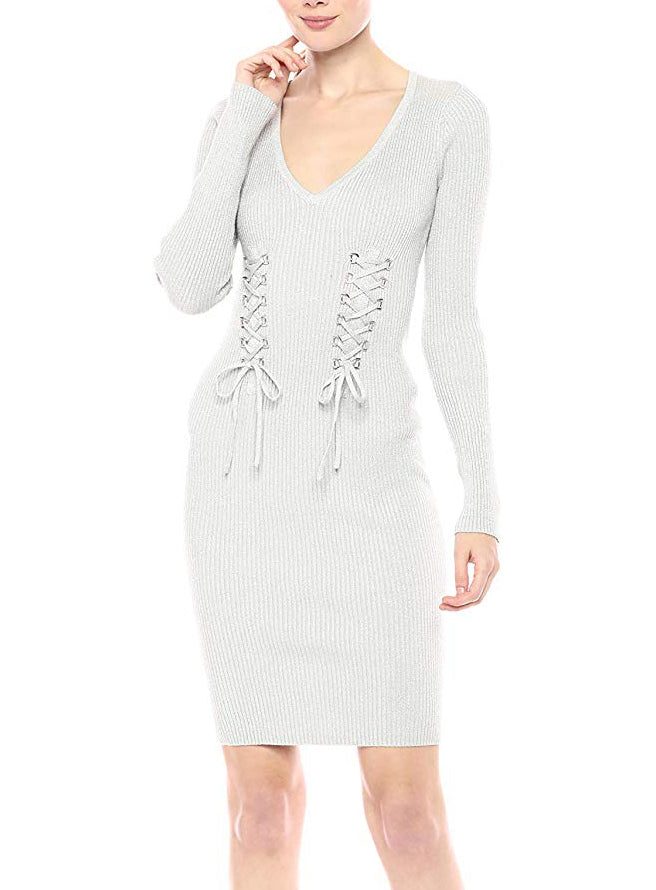 Yieldings Discount Clothing Store's Glitz D-Ring Sweater Dress by Guess in Heather Grey