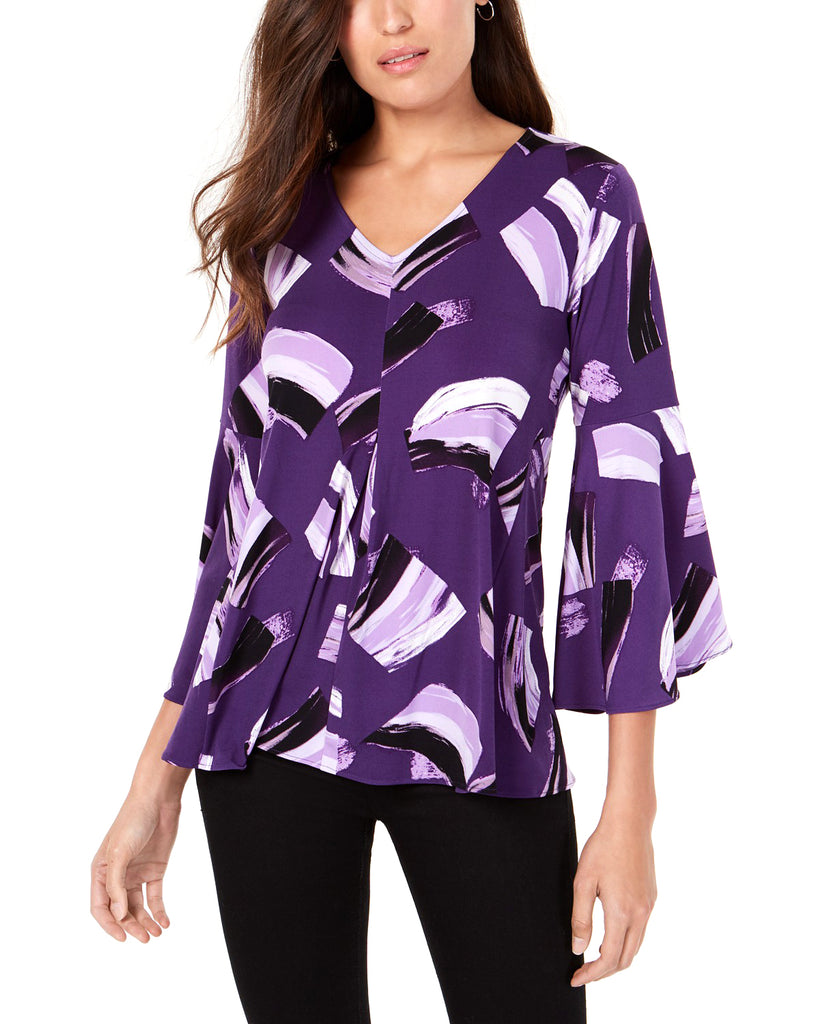 Yieldings Discount Clothing Store's Bell Sleeve Top by Alfani in Paint Spree