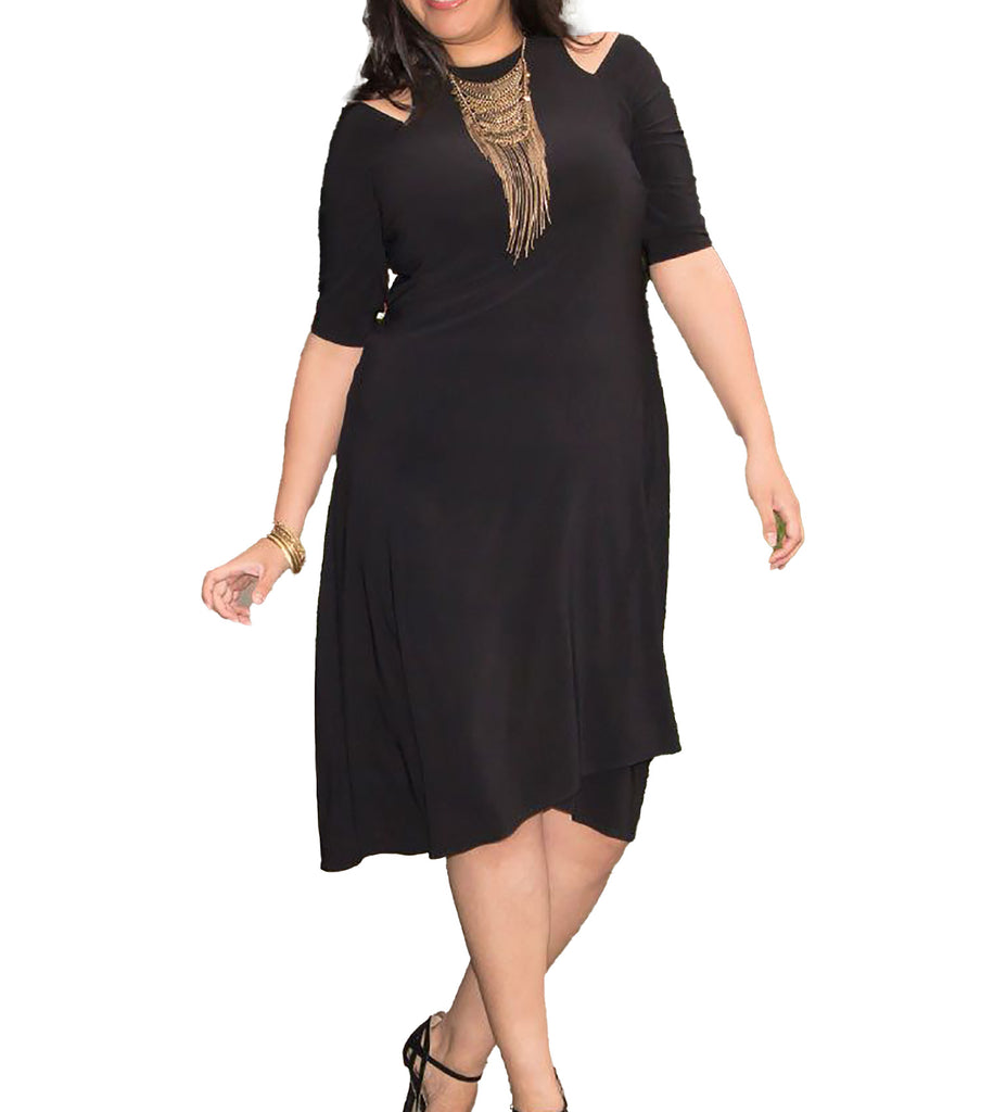 Yieldings Discount Clothing Store's Racy Faux Wrap Dress by Kiyonna in Black