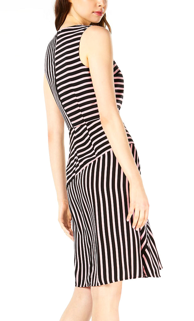 Yieldings Discount Clothing Store's Midnight Dots Mixed Stripe Dress by Bar III in Pink Polish Stripe
