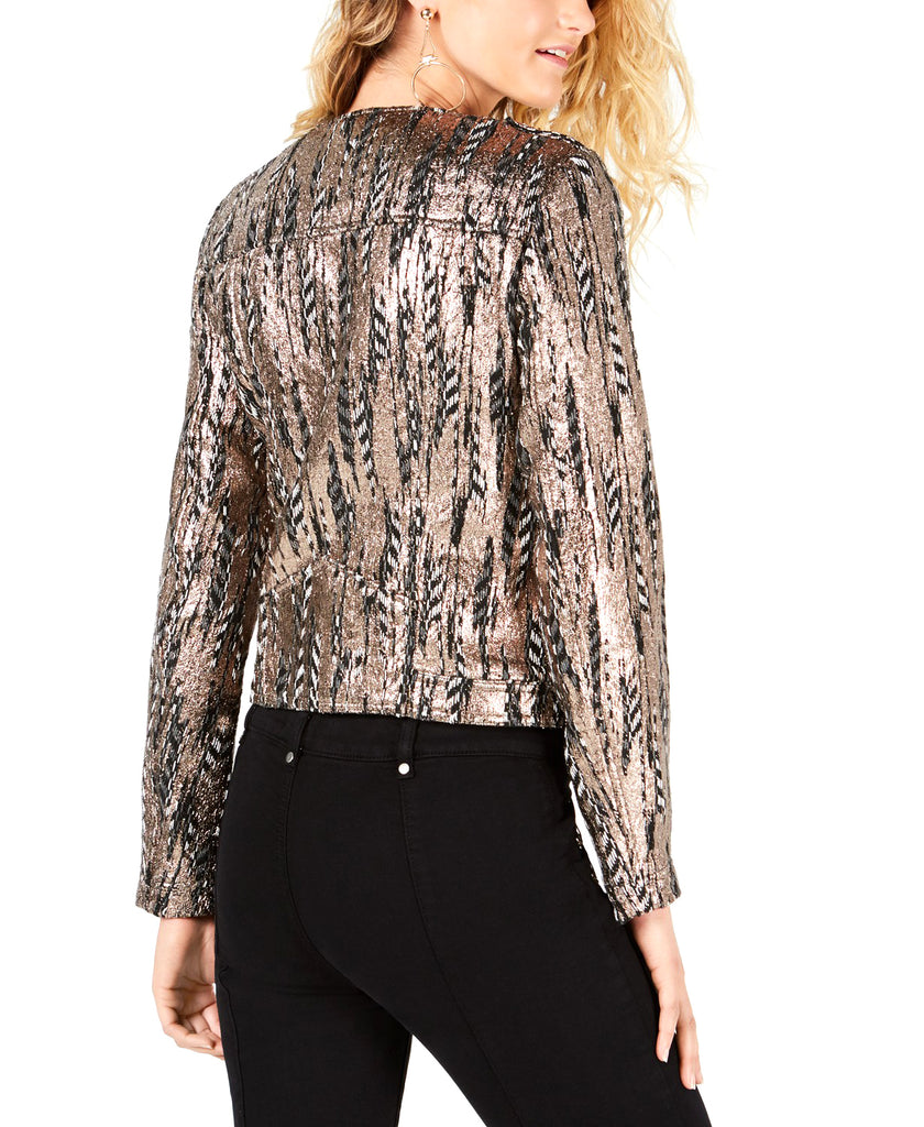 Yieldings Discount Clothing Store's Teeya Metallic Moto Jacket by Guess in Jet Black Multi