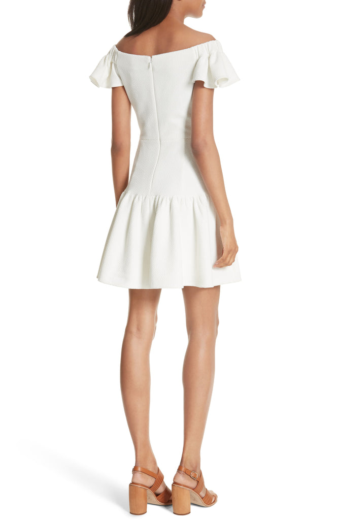 Yieldings Discount Clothing Store's Textured Off-the-Shoulder Mini Dress by Rebecca Taylor in Snow
