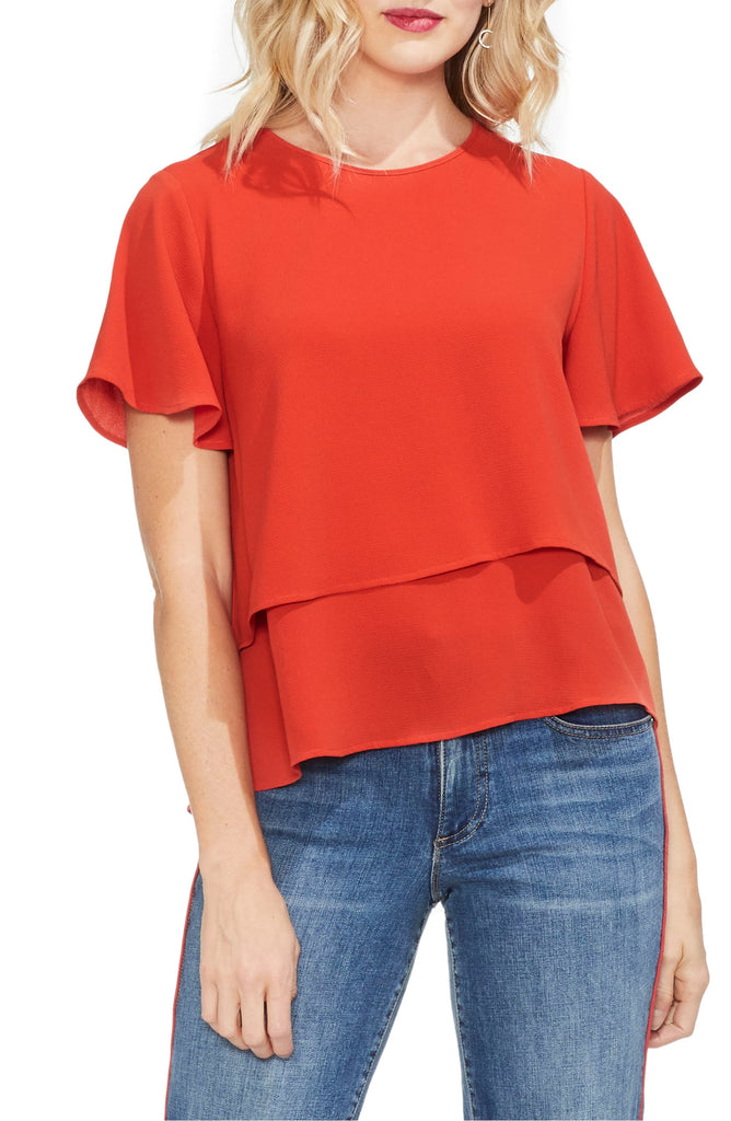 Yieldings Discount Clothing Store's Flutter Tiered Top by Vince Camuto in Mandarin Red