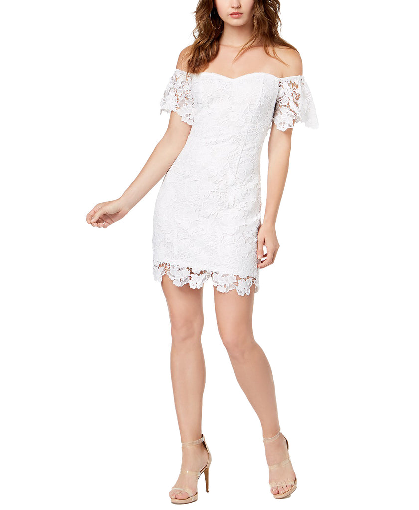 Yieldings Discount Clothing Store's Roselee Off Shoulder Dress by Guess in Pure White