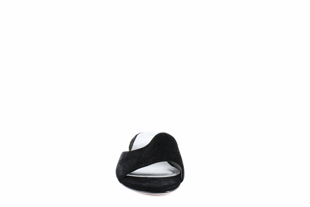 Yieldings Discount Shoes Store's Sliderpearl Slide Sandals by Stuart Weitzman in Black Suede