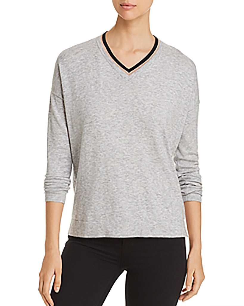 Yieldings Discount Clothing Store's Contrast V-Neck Sweater by Donna Karan New York in Mixed Metals