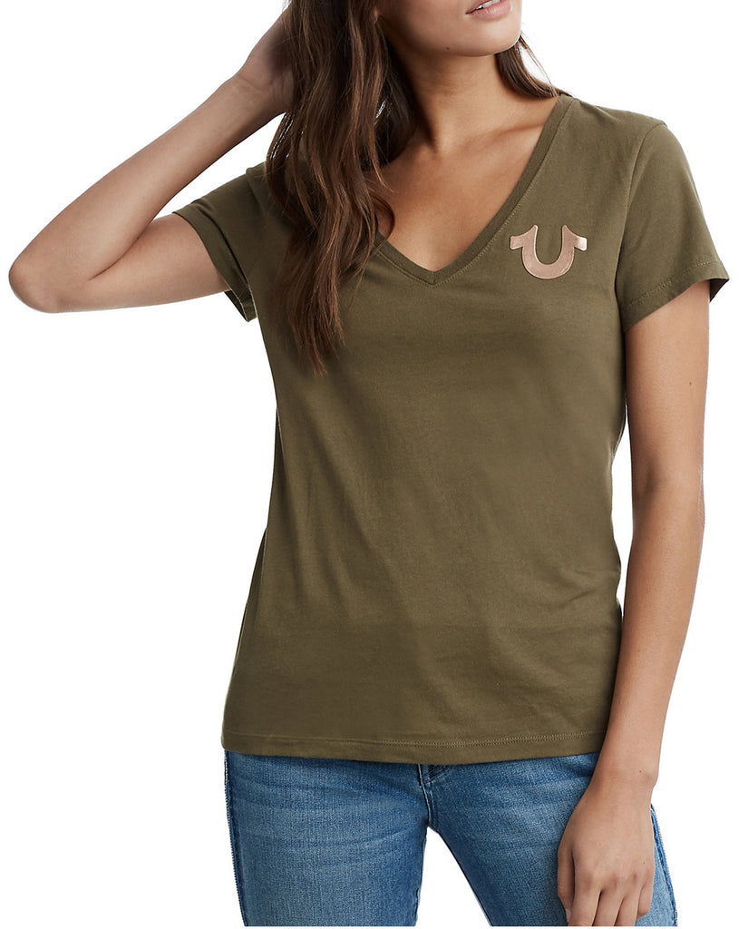 Yieldings Discount Clothing Store's Metallic Short Sleeve V-Neck by True Religion in Militant Green/Rose Gold