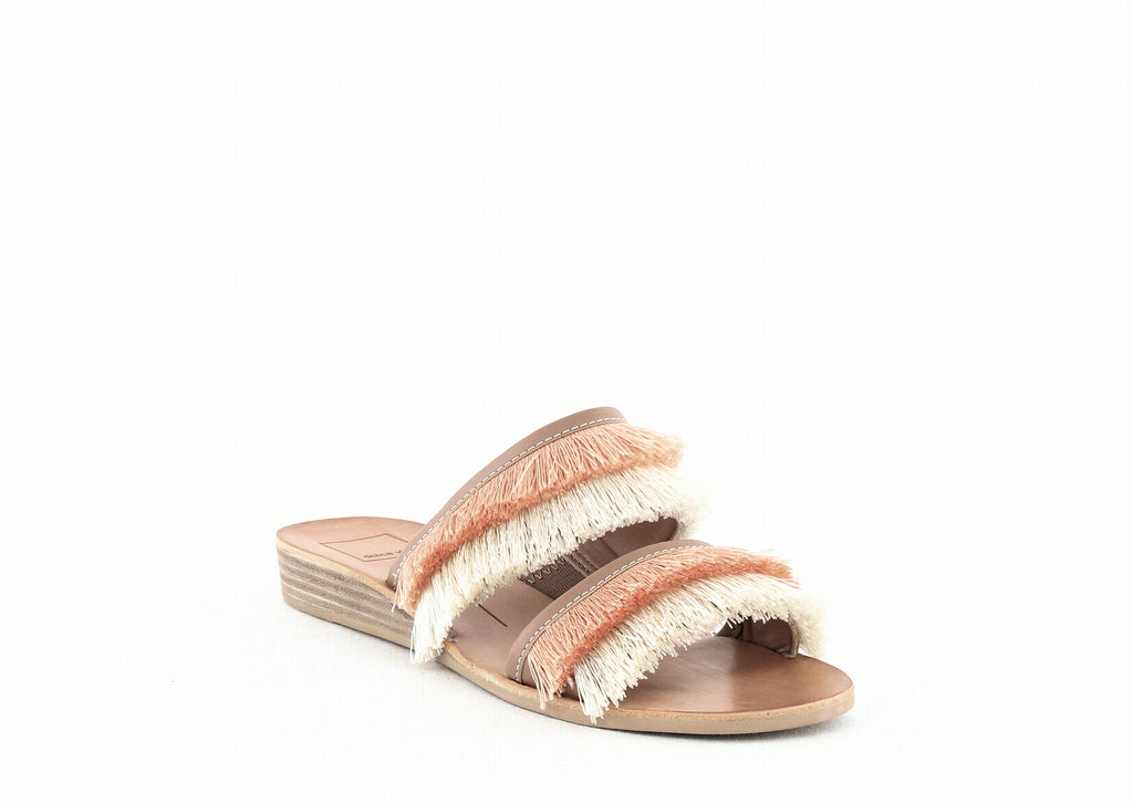 Yieldings Discount Shoes Store's Haya Slide Sandals by Dolce Vita in Natural Fringe