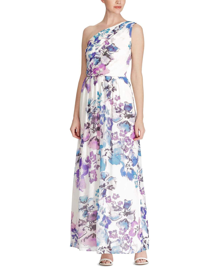 Yieldings Discount Clothing Store's One-Shoulder Floral Georgette Gown by Lauren by Ralph Lauren in Cream/Purple/Multi