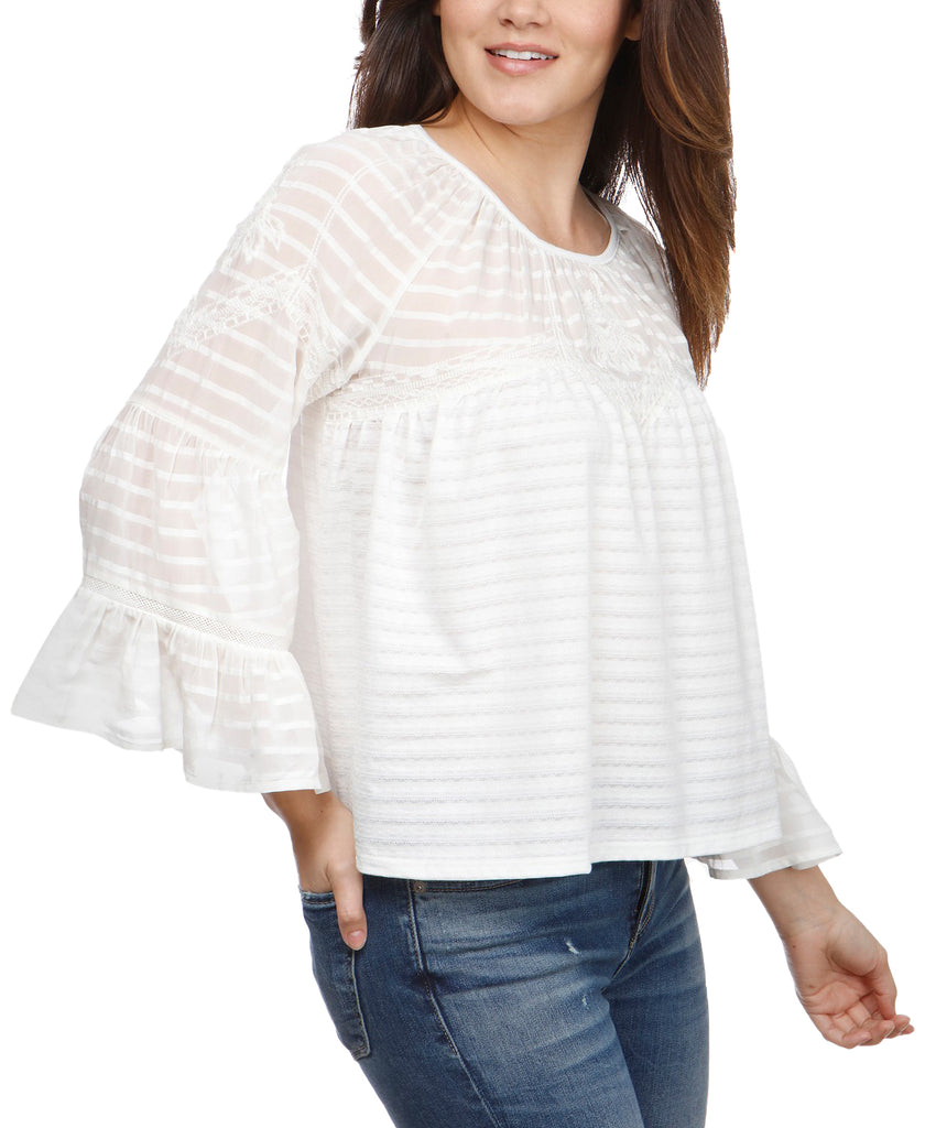 Yieldings Discount Clothing Store's Floral Sheer Peasant Top by Lucky Brand in White