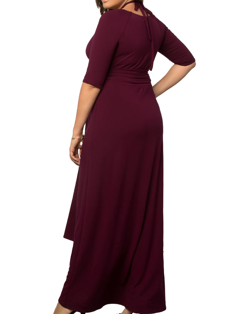 Yieldings Discount Clothing Store's Divine Draped Maxi Dress by Kiyonna in Raspberry