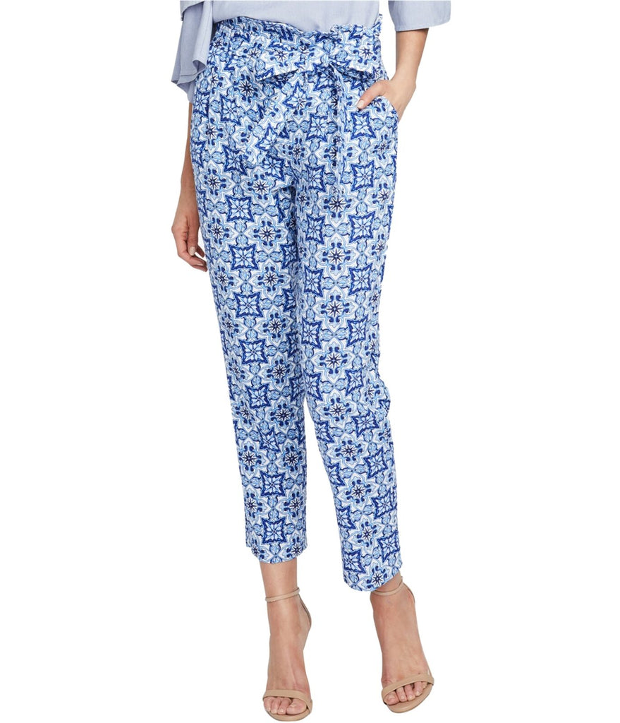 Yieldings Discount Clothing Store's Tile-Print Paperbag Pants by RACHEL Rachel Roy in Blue Combo