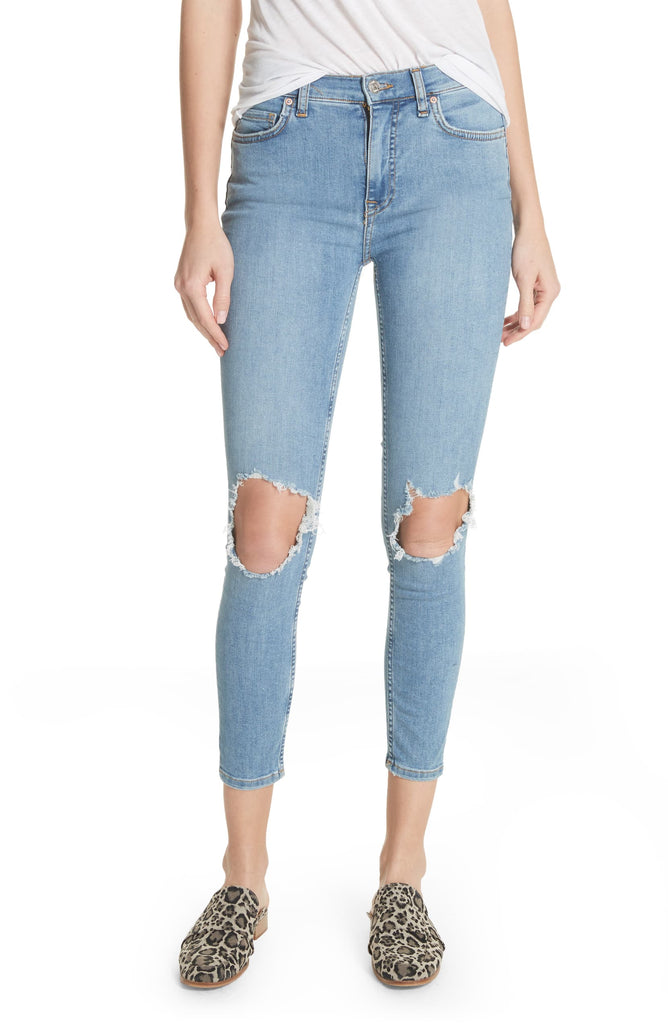 Yieldings Discount Clothing Store's Busted Skinny Jeans by Free People in Light Denim