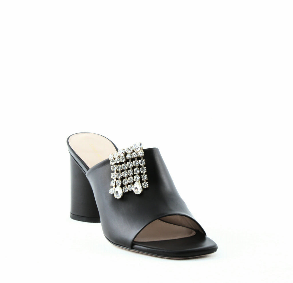 Yieldings Discount Shoes Store's Theone Slide Sandals by Stuart Weitzman in Nero
