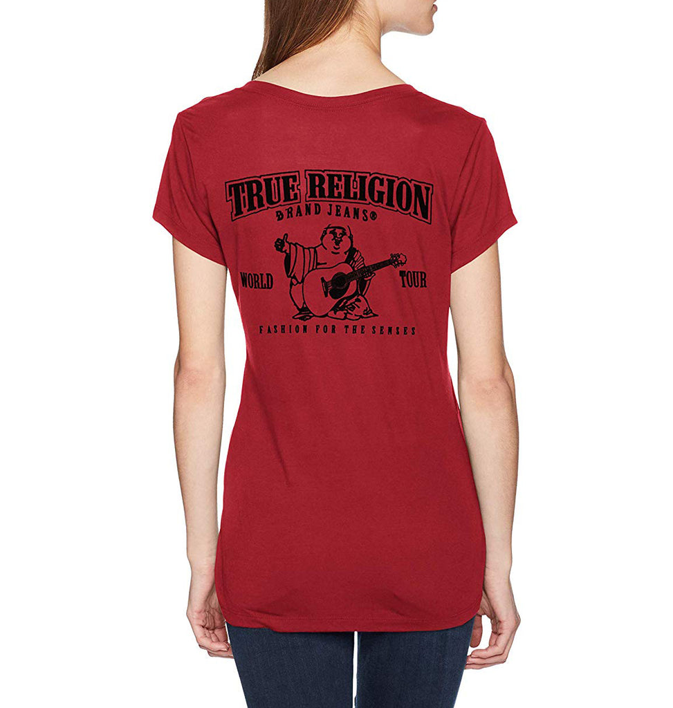 Yieldings Discount Clothing Store's For The Senses V-Neck Tee by True Religion in Goth Red/Black