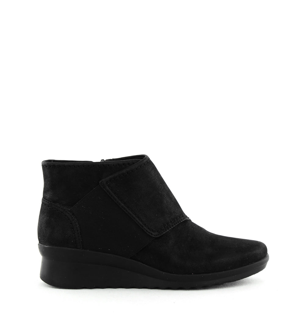 Yieldings Discount Shoes Store's Caddell Rush Booties by Cloudsteppers by Clarks in Black