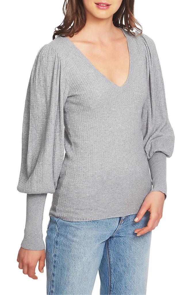 Yieldings Discount Clothing Store's Boy Meets Girl V Neck Blouson Sleeve Sweater by 1.State in Heather Grey