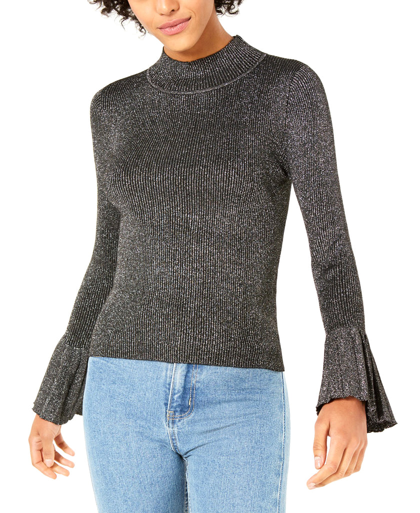 Yieldings Discount Clothing Store's Mallory Mock-Neck Bell-Sleeve Sweater by Lucy Paris in Black