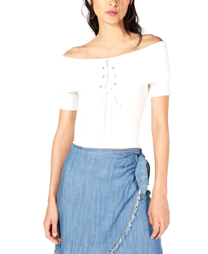 Yieldings Discount Clothing Store's Off The Shoulder Lace-Up Top by Sage in White