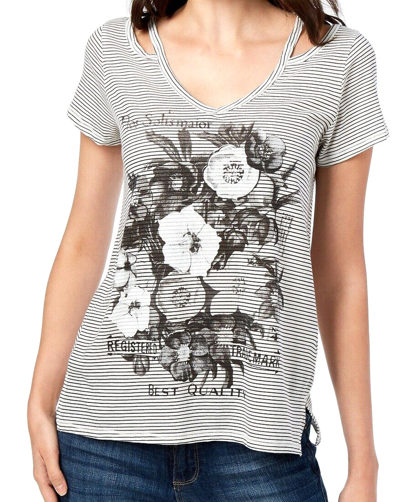 Yieldings Discount Clothing Store's Printed Cutout Graphic Tank Top by Lucky Brand in White