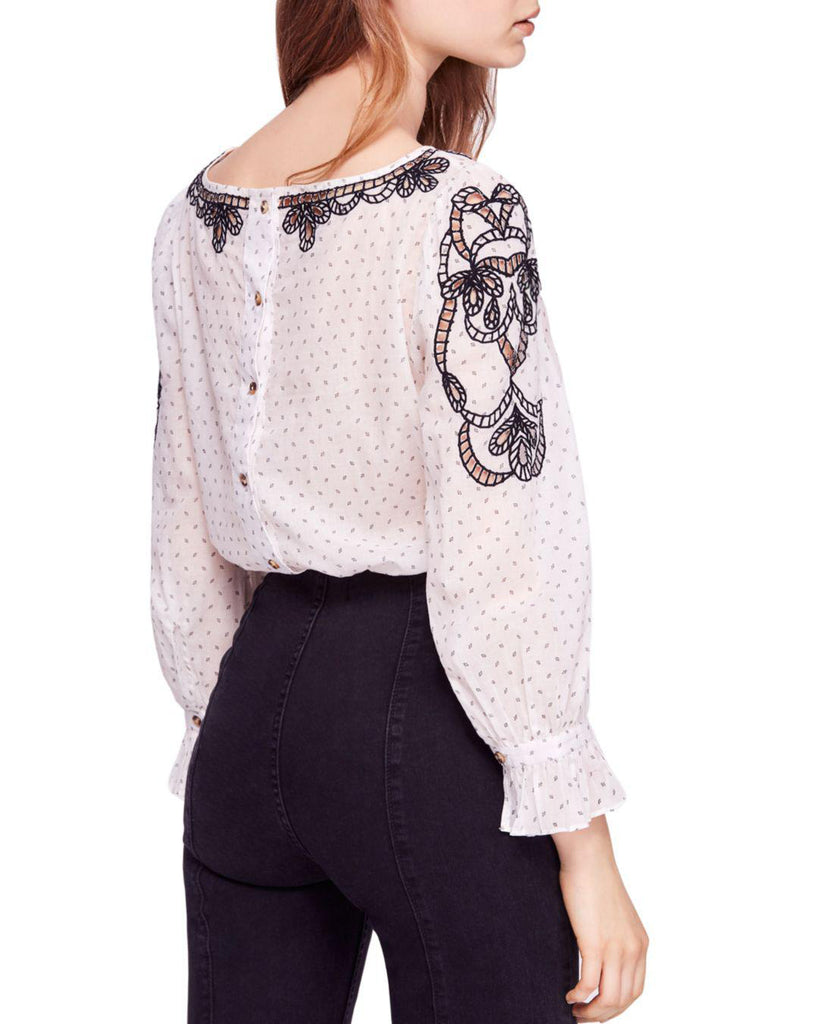 Yieldings Discount Clothing Store's Everything I Know Blouse by Free People in Ivory Combo