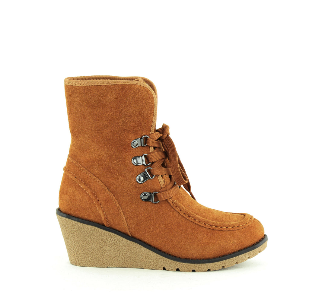 Yieldings Discount Shoes Store's Sienna Winter Wedge Boots by Khombu in Tan