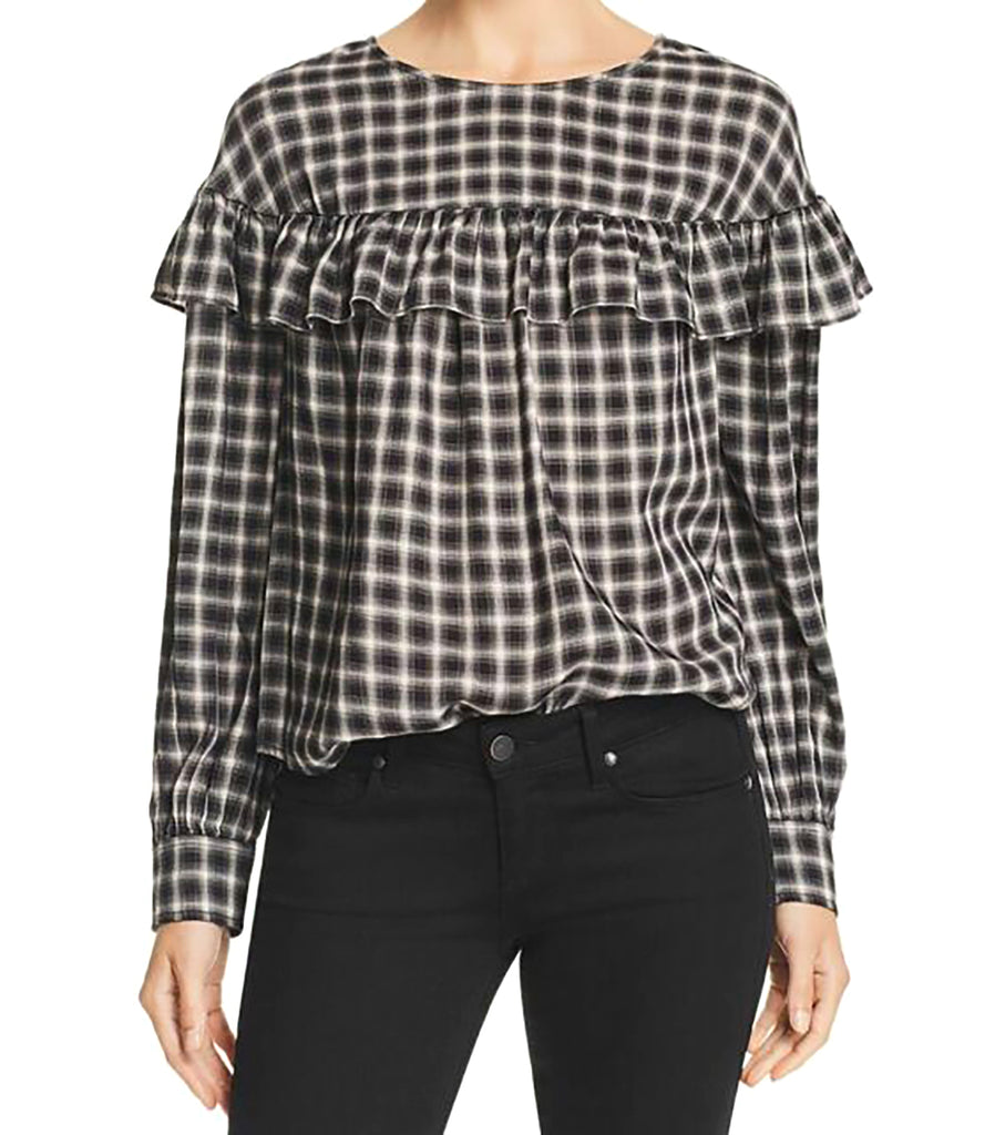 Yieldings Discount Clothing Store's Long Sleeve Plaid Ruffle Top by La Vie Rebecca Taylor in Black Combo