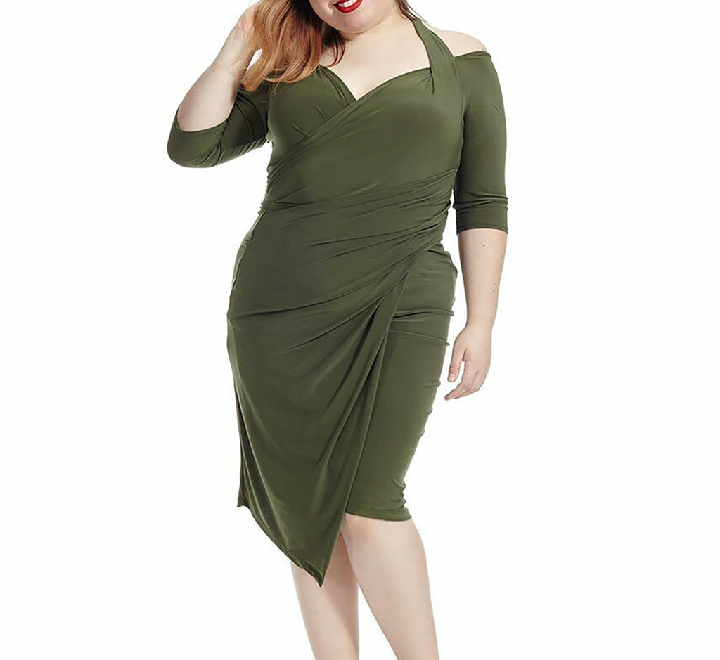 Yieldings Discount Clothing Store's Foxfire Faux Wrap Dress by Kiyonna in Olive
