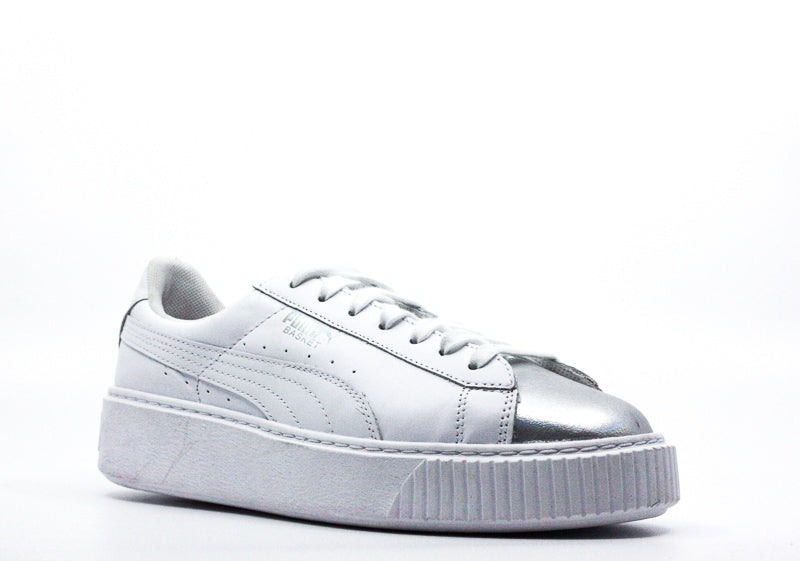 Yieldings Discount Shoes Store's Basket Platform Sneakers by Puma in Iridescent White