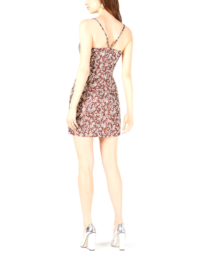 Yieldings Discount Clothing Store's Cutout Printed Cami Sheath Dress by Leyden in Blossom Jacquard