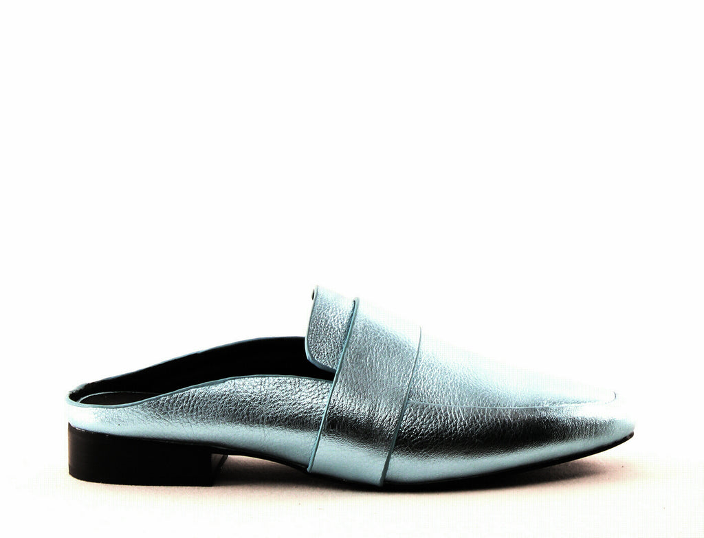 Yieldings Discount Shoes Store's Renold Leather Mules by Sol Sana in Blue Metallic