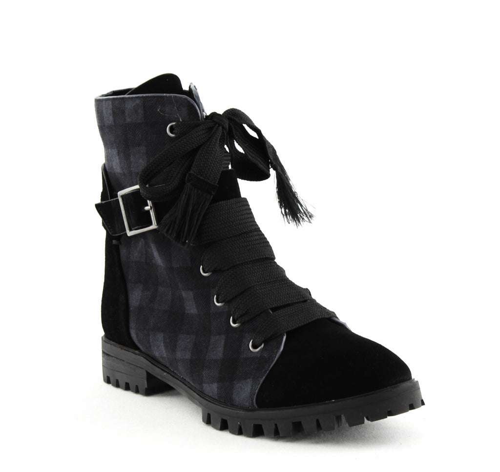 Yieldings Discount Shoes Store's Celine Lace Up Ankle Boots by Splendid in Black/Grey